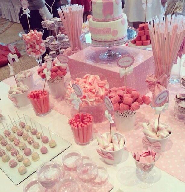 Mesa dulce decoracion fiestas pinterest mesas dulces for Mesa de dulces para bautizo de nina
