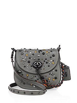 e358ef39979e COACH Stardust Studded Leather Saddle Bag - Heather Grey