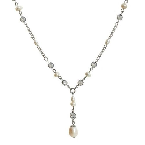 The beautiful Fontaine necklace comprises lustrous (faux) ivory freshwater pearls and glittering crystal diamante and high quality rhodium plated components for an elegant and understated look, with a touch of vintage glamour.