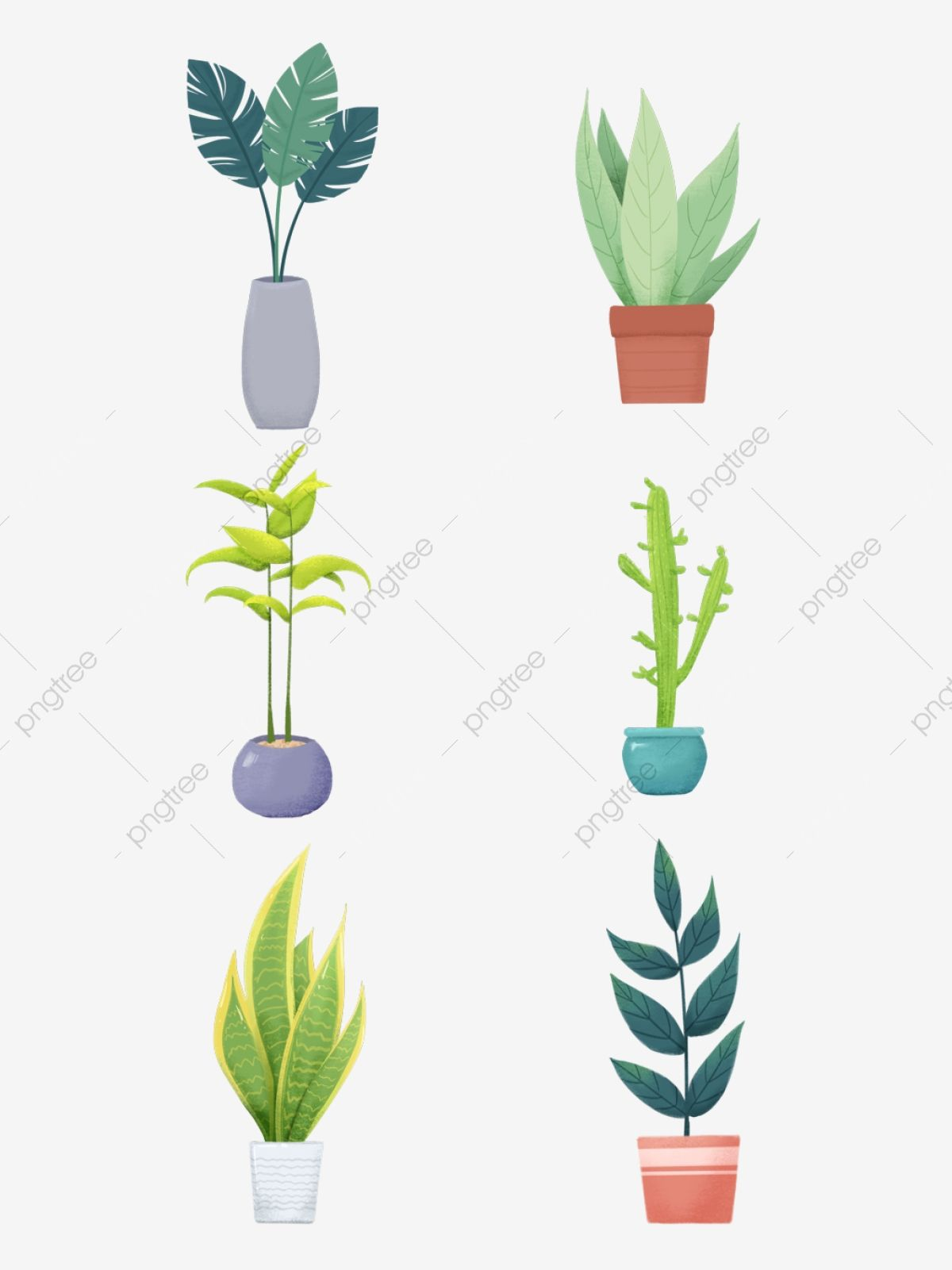 Simple Nordic Hand Painted Plants Indoor Potted Cartoon Elements Set Decoration Hand Painted Illustrator Style Png Transparent Clipart Image And Psd File For Plant Vector Plants Plant Cartoon