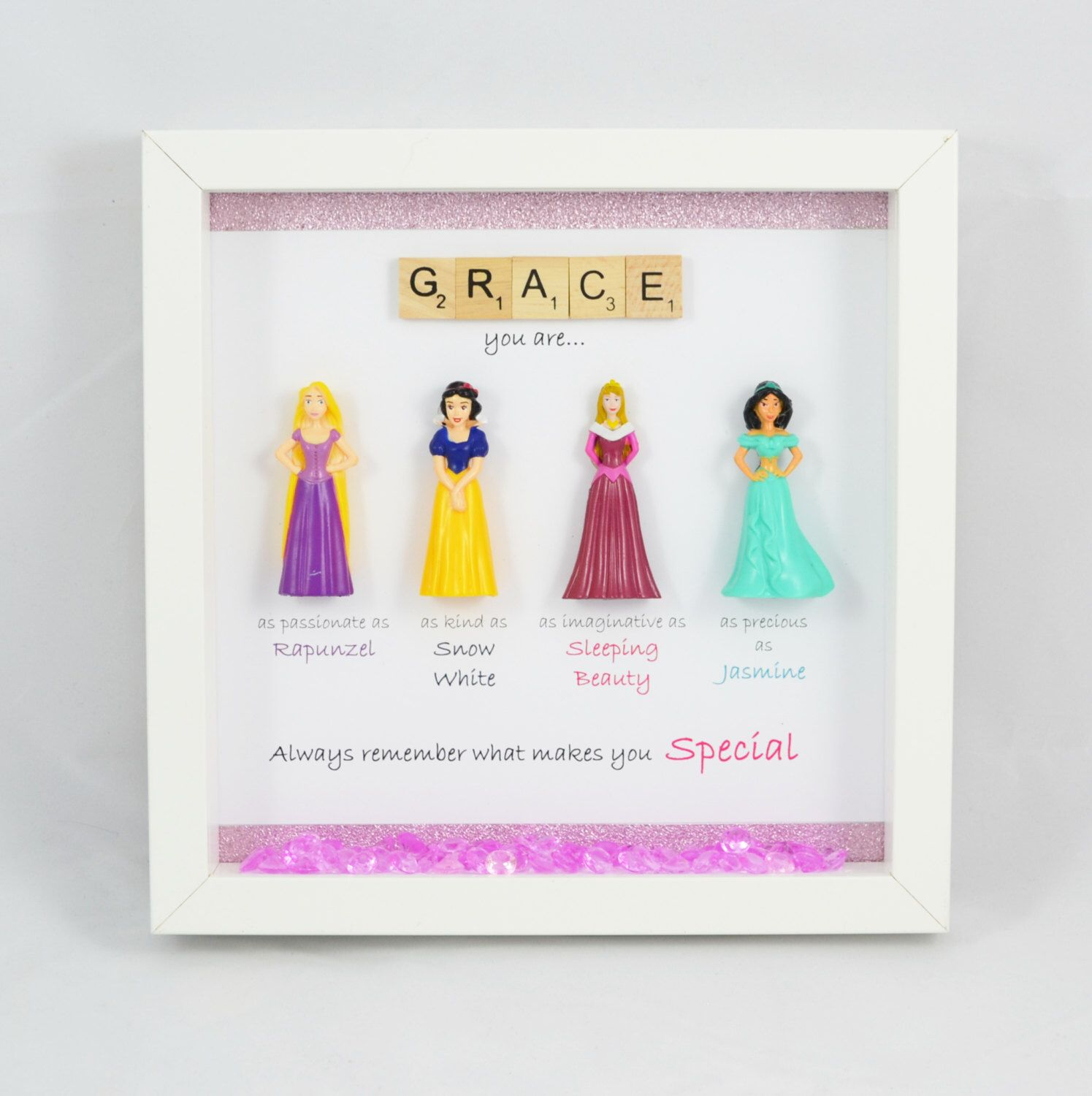 Disney Princess Frame- perfect mum, sister- daughter-friend- nana- niece- flower girl gift. A special gift to show how much you care. by MakeItExtraSpecial on Etsy https://www.etsy.com/listing/272739802/disney-princess-frame-perfect-mum-sister