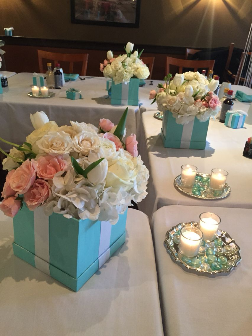 Tiffany Boxes Made For Flower Arrangements Silver Trays Candles Tiffany Themed Bridal Shower Bridal Shower Theme Bridal Shower