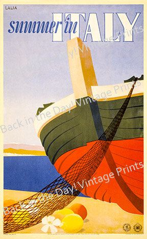 Italy Vintage Reproduction Travel Poster of Summer in by artrep1