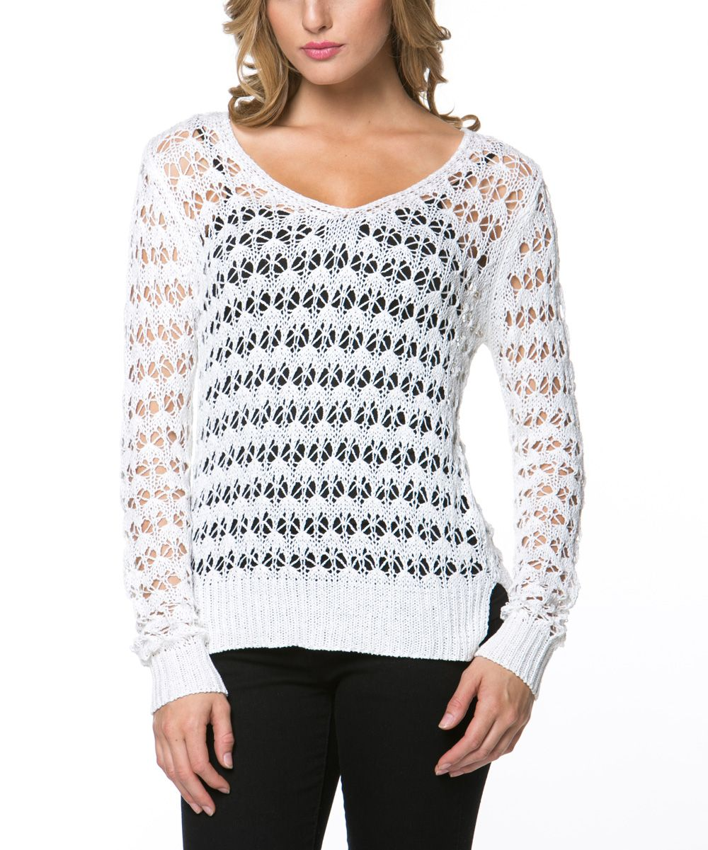 Off-White Open-Knit V-Neck Sweater