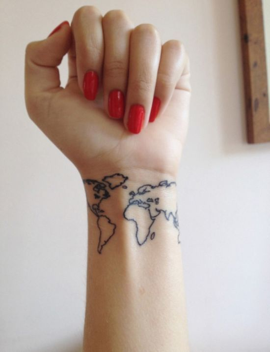 Top 50 small tattoo designs amazing tattoo ideas tattoos world map tattoo not sure about the placement but how cool would it be to have a small world map somewhere and just get a dot of color everywhere you gumiabroncs Choice Image
