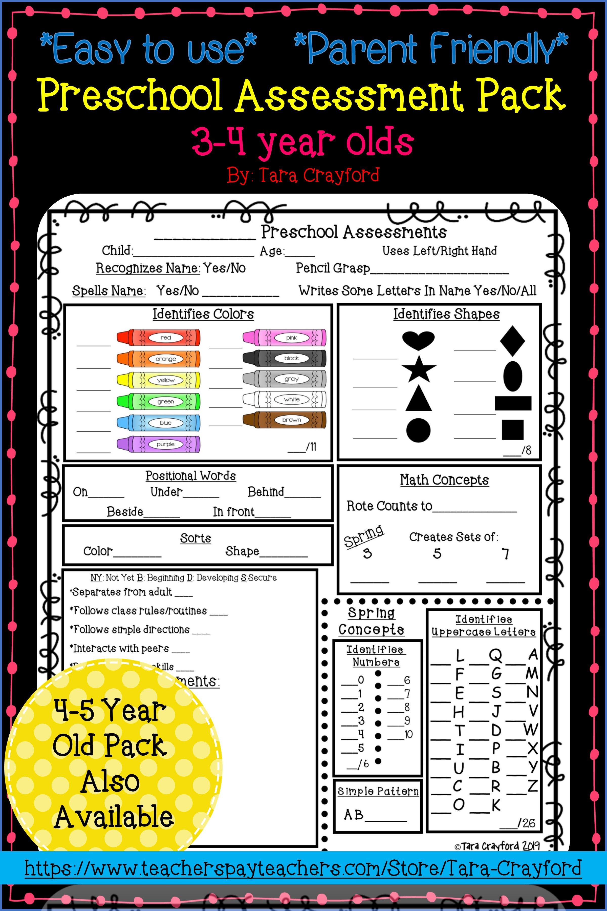 Conference Assessment Pack For Prek 3 And 4 Year Olds