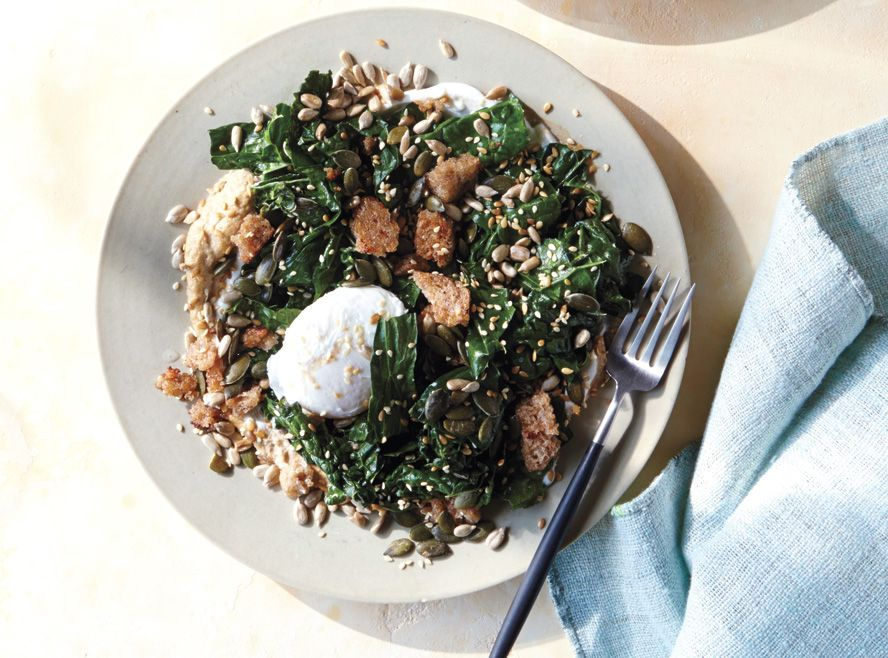 Sublime Summer Salads - Poached Egg with Kale, Rye, Tahini, and Yogurt. Click to get the recipe! #InStyle