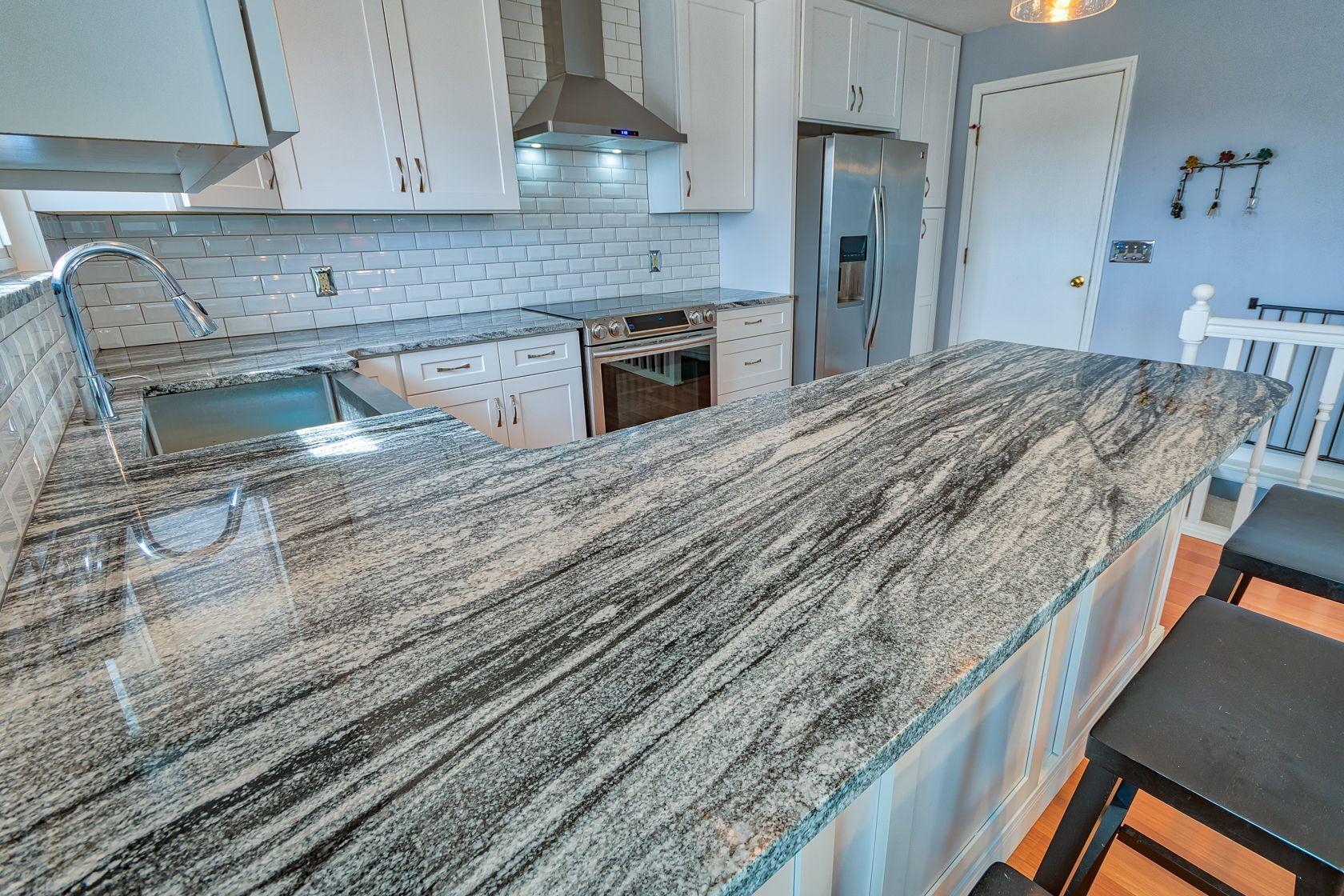 Granite Kitchen Countertops Silver Cloud Granite Cloud Countertops Granite Kitchen Silver In 2020 Granite Countertops Kitchen Granite Kitchen Countertops