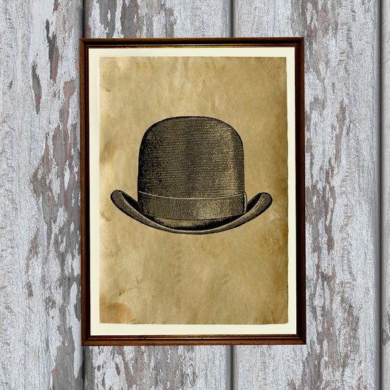 Vintage mens hat art print Antique paper Antiqued by artkurka, $18.00