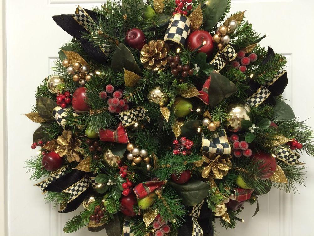 MacKenzie Childs Ribbons, Lighted, CHRISTMAS WREATH, CORDLESS, WREATHES, #MACKENZIECHILDSINSPIRED