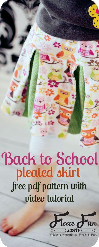 Easy Girls Pleated Skirt DIY in 6 Steps (Free Pattern) | Pinterest ...
