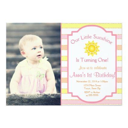 Sunshine Birthday Invitation Sun Girl 1st Birthday Sunshine - invitation for 1st birthday party girl
