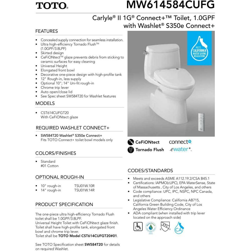 Toto MW614584CUFG-01 Carlyle II S350E Two-Piece Toilet - 1.0 GPF ...