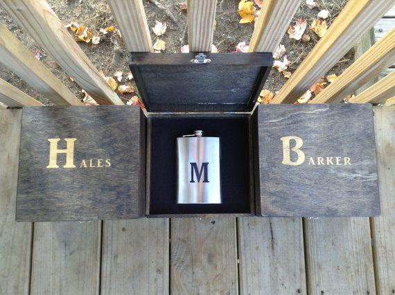 Groomsmen Gift Set of 8 Engraved Cigar Box by PaulyTurnerDesigns, $328.00