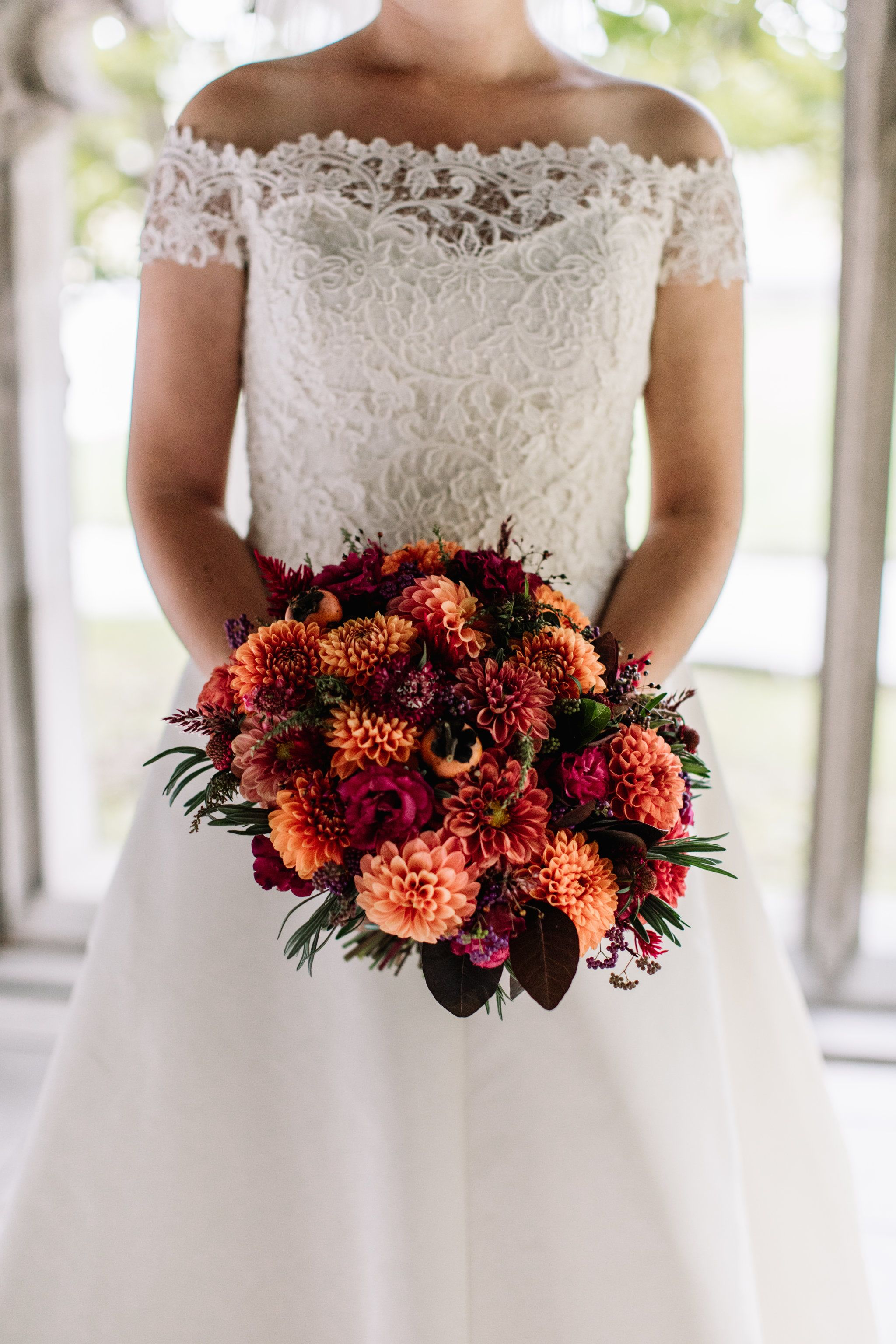 Autumn Bridal Bouquet Full Of Dahlias And Persimmons Grown And Designed By Love N Fresh Chrysanthemum Bridal Chrysanthemum Bridal Bouquet Bridal Bouquet Fall
