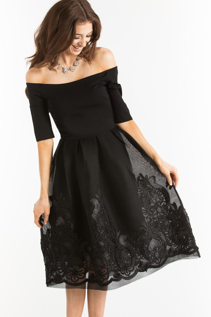 Karis Black Embroidered Off The Shoulder Dress Cute Lace