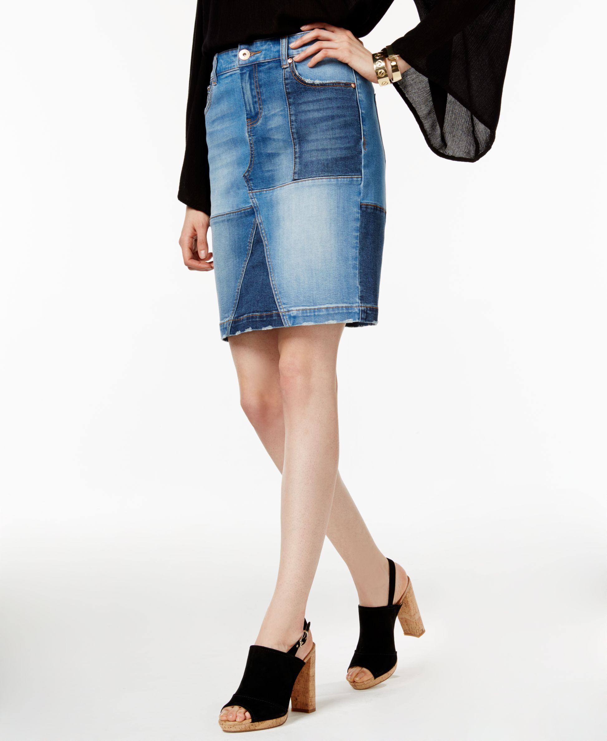 0aaa63d8c4 Inc International Concepts Denim Patchwork Pencil Skirt, Only at Macy's