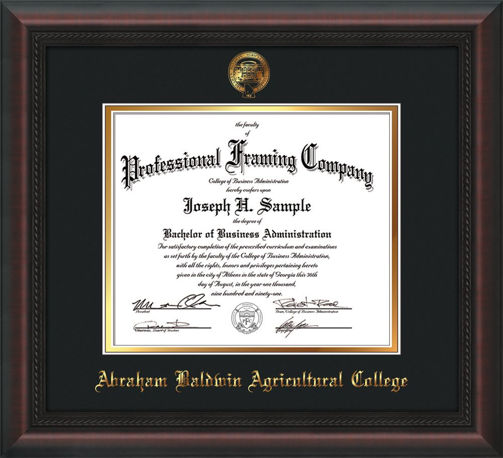 Abraham Baldwin Agricultural College Diploma Frame Mahogany Braid W Embossed Abac Seal Name Black On Gold Mat Diploma Frame Wayne State University Troy University