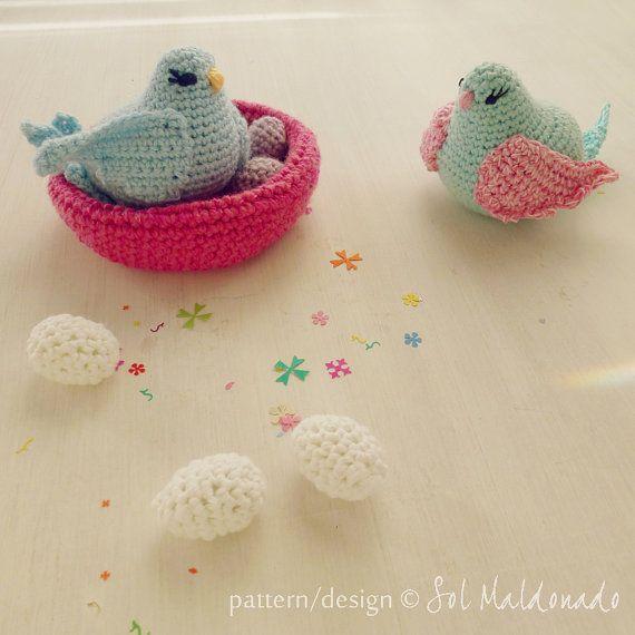 Amigurumi Baby Mobile Pattern : Bird amigurumi Crochet Pattern - birds, nest egg, baby ...