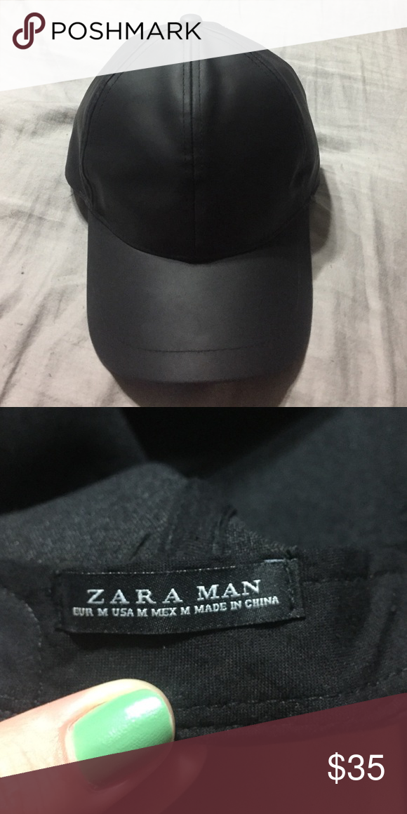 27ef7b1670 Zara rubberized visor cap Faux leather man hat size Medium. Used ...
