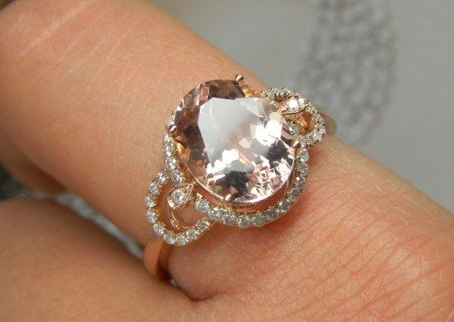 Engagement Ring 3 Carat Morganite Ring With Diamonds In 14K Rose