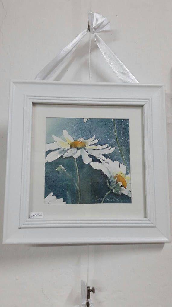 Framed watercolor Daisy / daisy / watercolor | Watercolor ...
