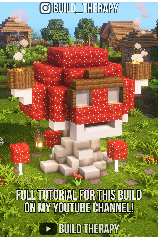 Cute Mushroom Minecraft House Tutorial