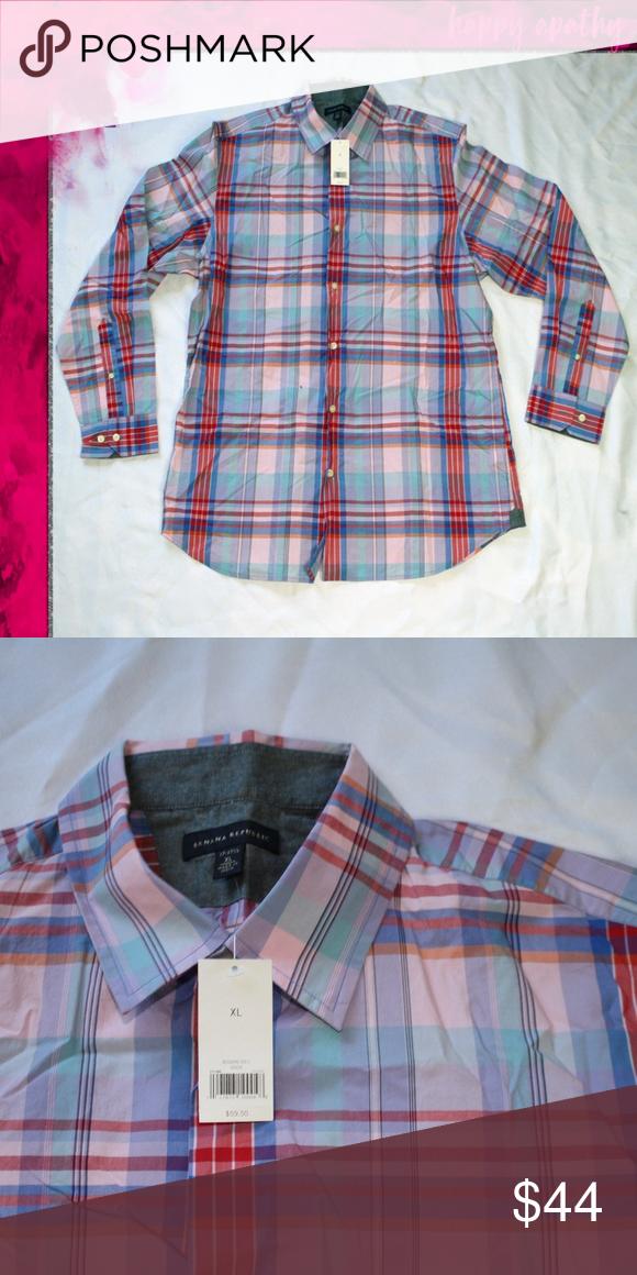 879c2ec0f5e NWT Banana Republic Plaid Button Down Dress Shirt Banana Republic Pink