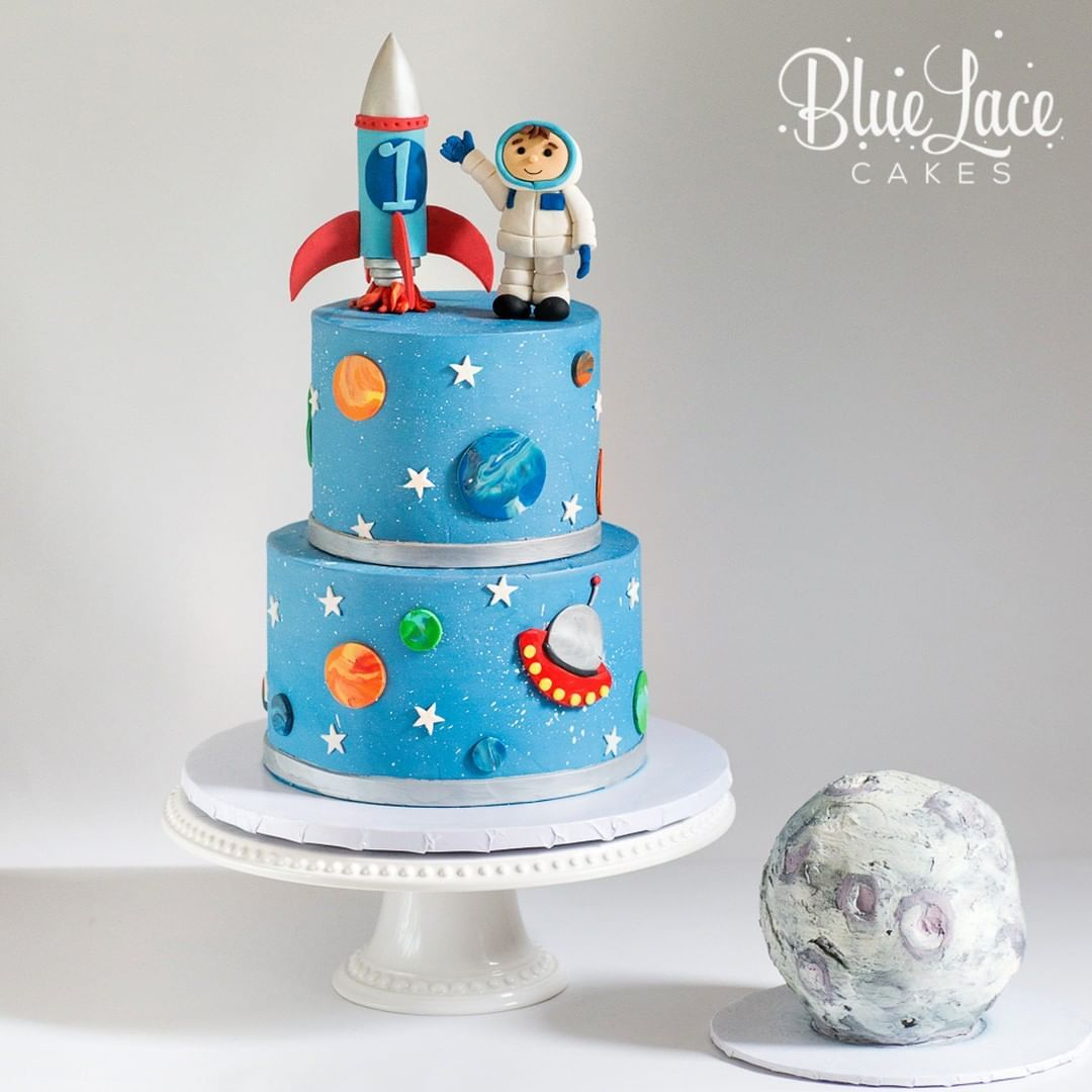 Wondrous Astronaut First Birthday Cake With Rocket Ship And Moon Smash Cake Funny Birthday Cards Online Overcheapnameinfo