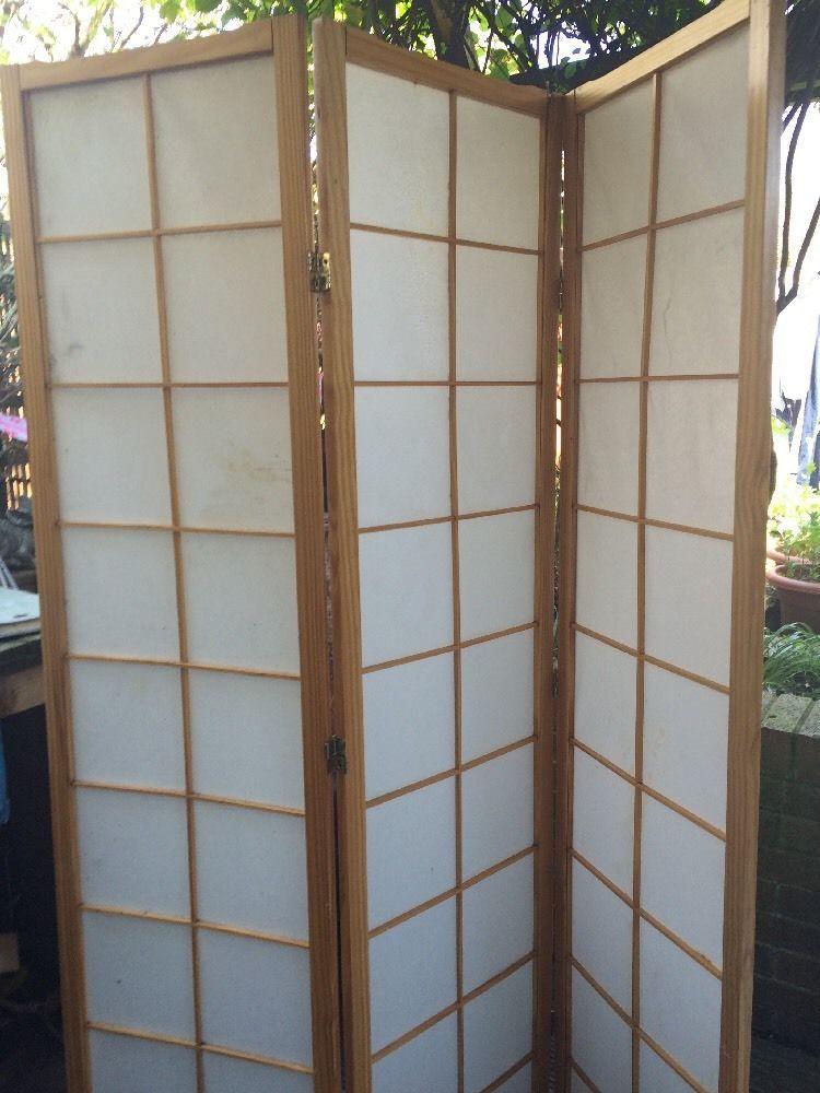 Japanese Style 3 Panel Black Framed Room Screen Divider | Room