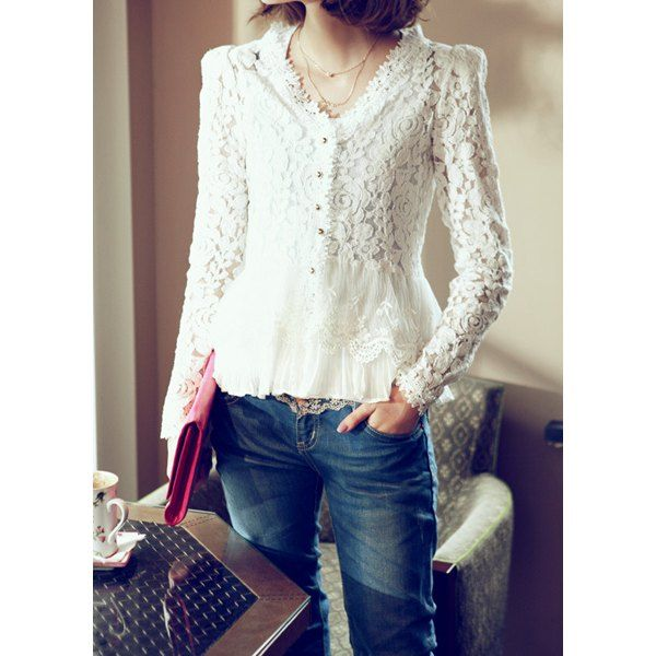 Wholesale Elegant Shoulder Pads Long Sleeves White Hollow Out Lace ...