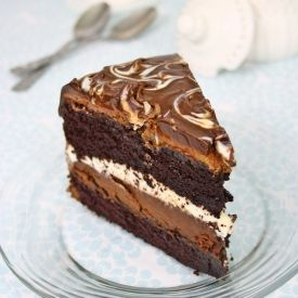 Tuxedo cake, Costco style, with 2 layers of chocolate