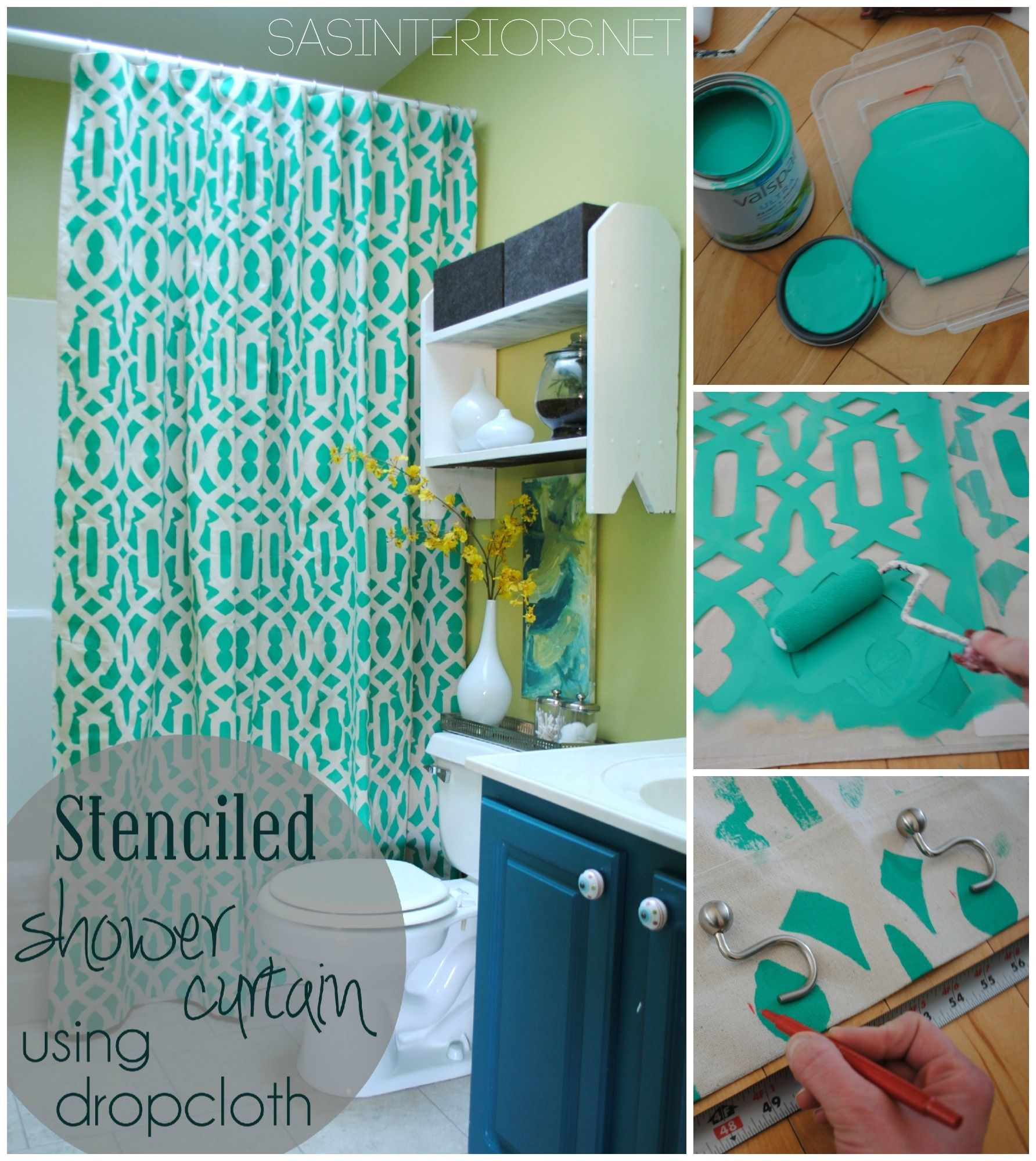 Diy stenciled shower curtain using drop cloth material super