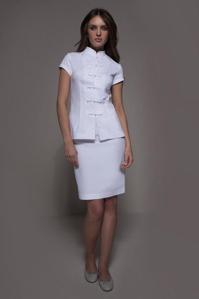 Shanghai tunic white spa beauty medical nurses for Spa uniform white