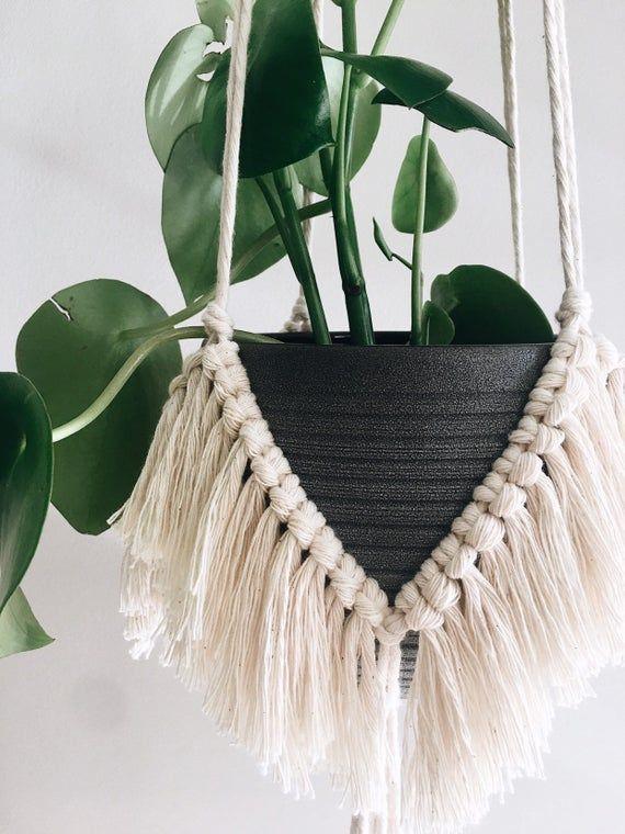 Macrame Plant Hanger, Bohemian Hanging Planter, BIRDIE Fringe Trim