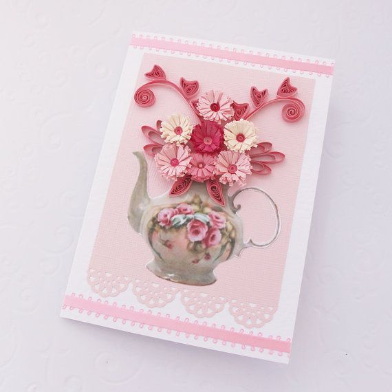 Paper Quilling Greeting Card Paper Quilled TEAPOT Pink Fuchsia – How to Make Paper Birthday Cards