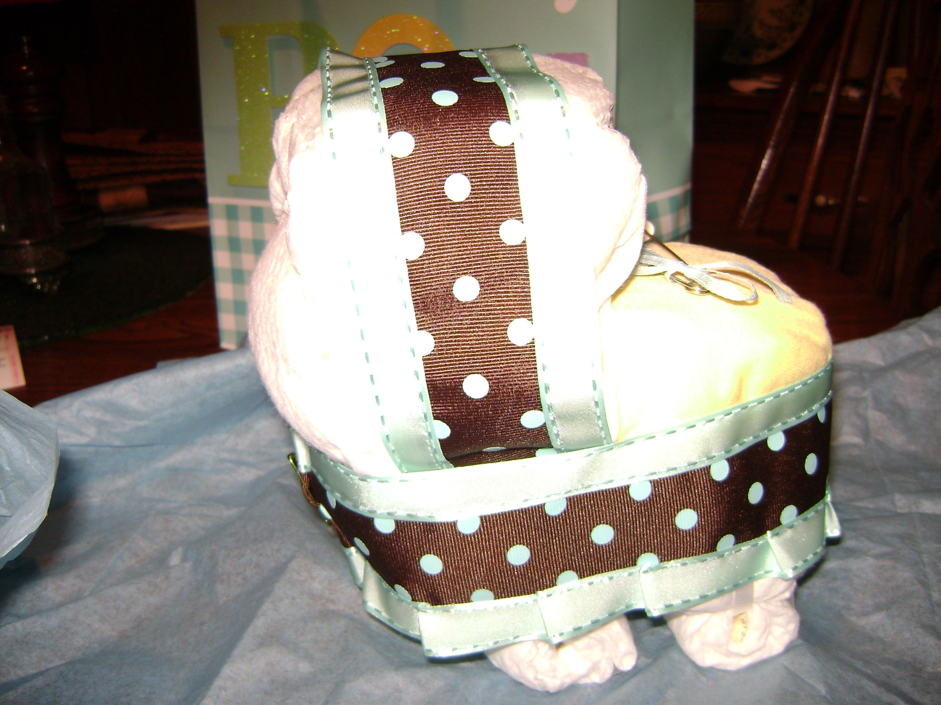 Adorable baby buggy made with diapers gift from our