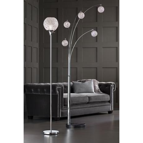 Kryss Chrome And Beaded Acrylic Torchiere Floor Lamp Floor Lamp
