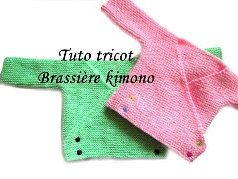 c46471ac65836 TUTO TRICOT BRASSIERE KIMONO BEBE FACILE ET RAPIDE EASY KNITTING BABY