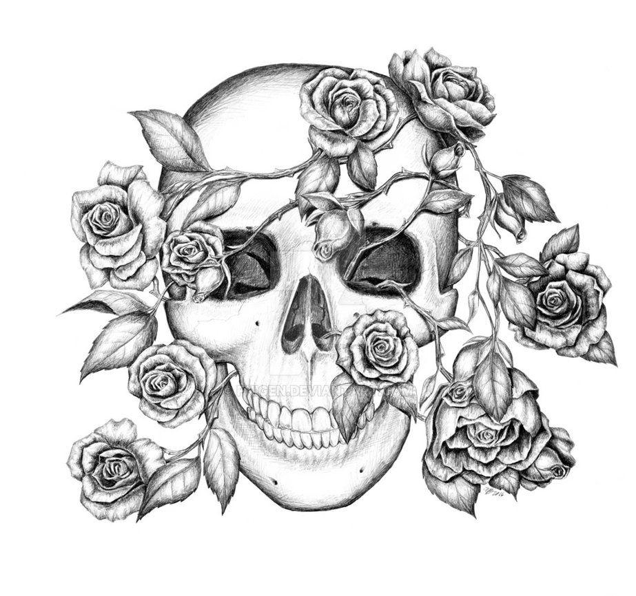 Rosy Skull By Fnigen Skull Coloring Pages Skulls Drawing Skull