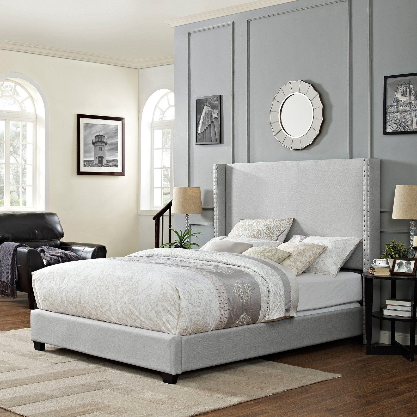 Best Crosley Casey Wingback Upholstered Low Profile Bed Dove 400 x 300