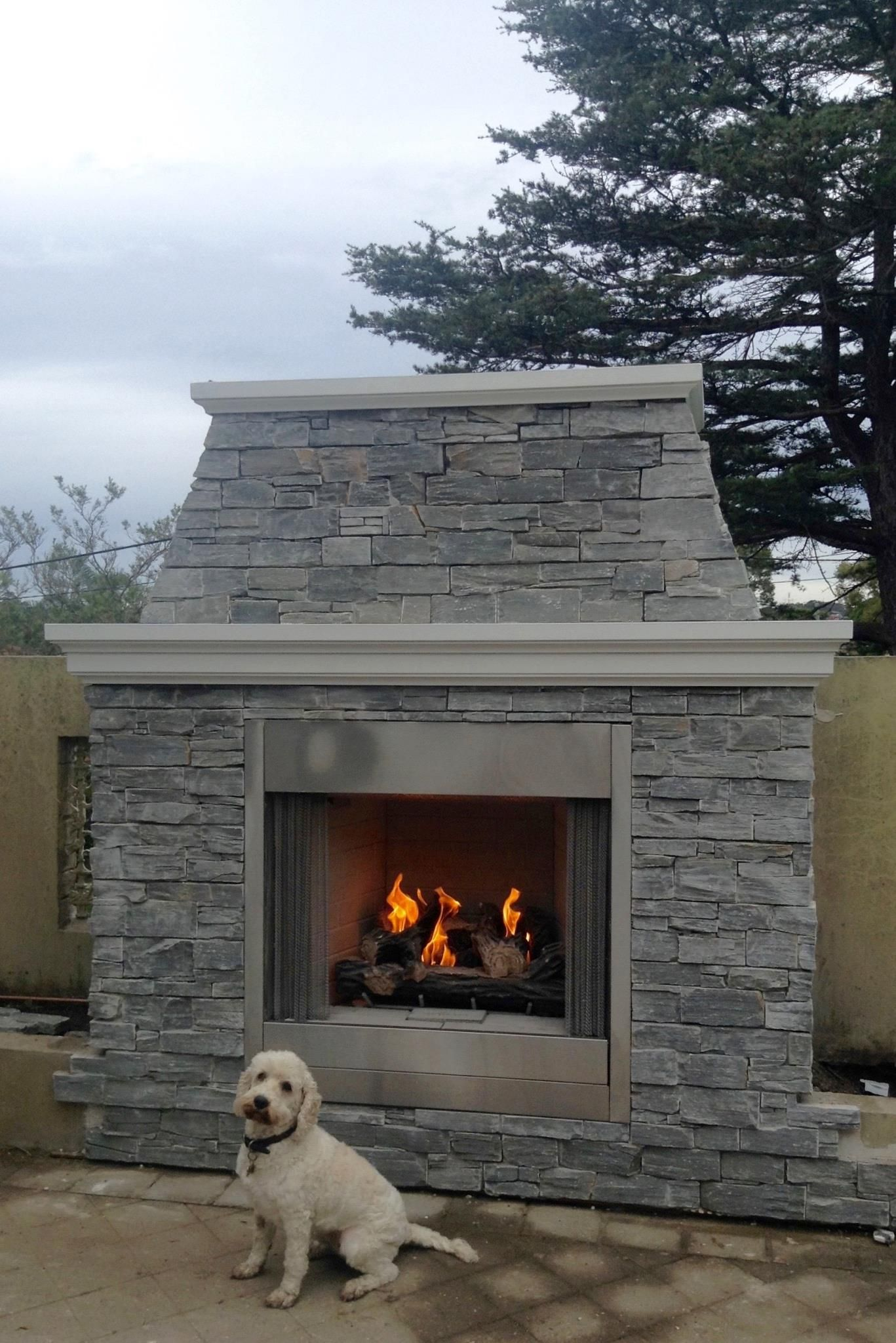 Stage 1 Of Our Outdoor Entertaining Area The Outdoor Fireplace Grey Stacked Stone Majestic Gas Outdoor Gas Fireplace Outdoor Fireplace Grey Stone Fireplace