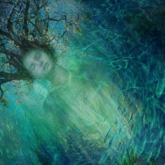 GREEN WITCH Fine Art Print - Aqua Ocean Goddess - Bluegreen
