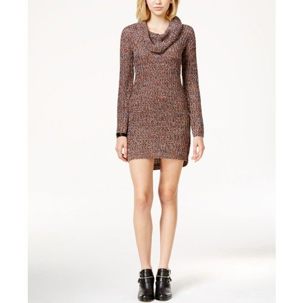 Ultra Flirt Juniors' Marled Cowl-Neck Sweater Dress ($12) ❤ liked ...
