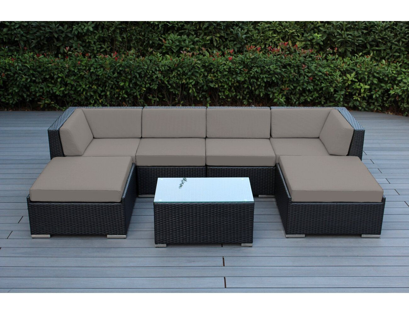 Amazon Sofa Set Simmons Stirling Bed Reviews Ohana Collection 7 Piece Outdoor Sectional