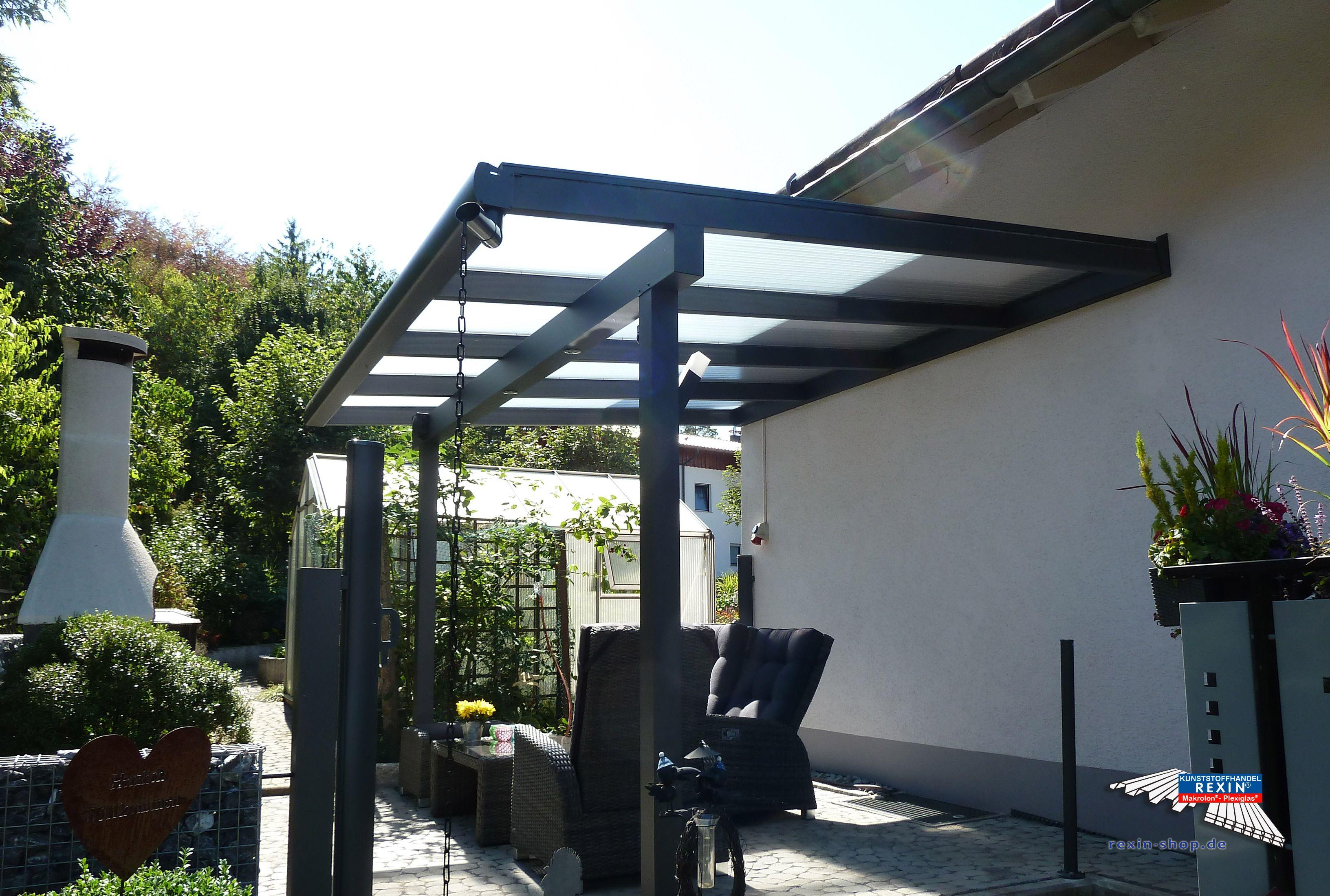 Best Ein Alu Terrassendach der Marke REXOclassic m x m in Anthrazit mit Plexiglas