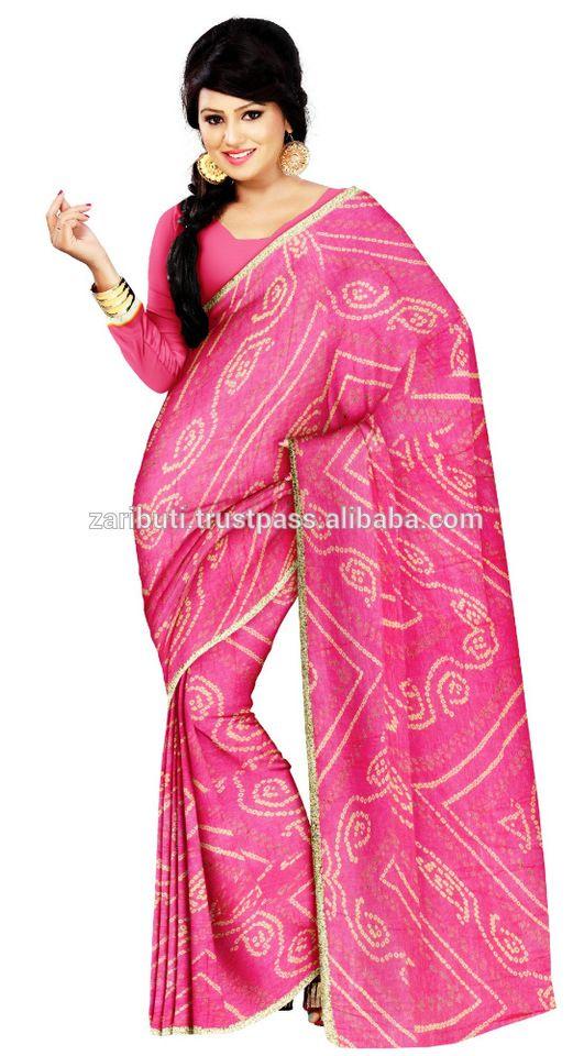 377ad1a50e Pure Viscose Chiffon Hand Printed Bandhani Sarees Rajasthani Bandhej Saree