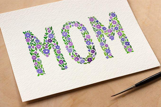 Diy Watercolor Mother 39 S Day Card Printable Watercolor