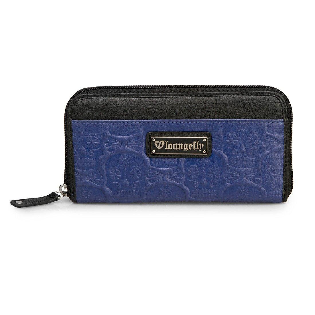 Loungefly Sugar Skull Blue/Black Embossed Wallet