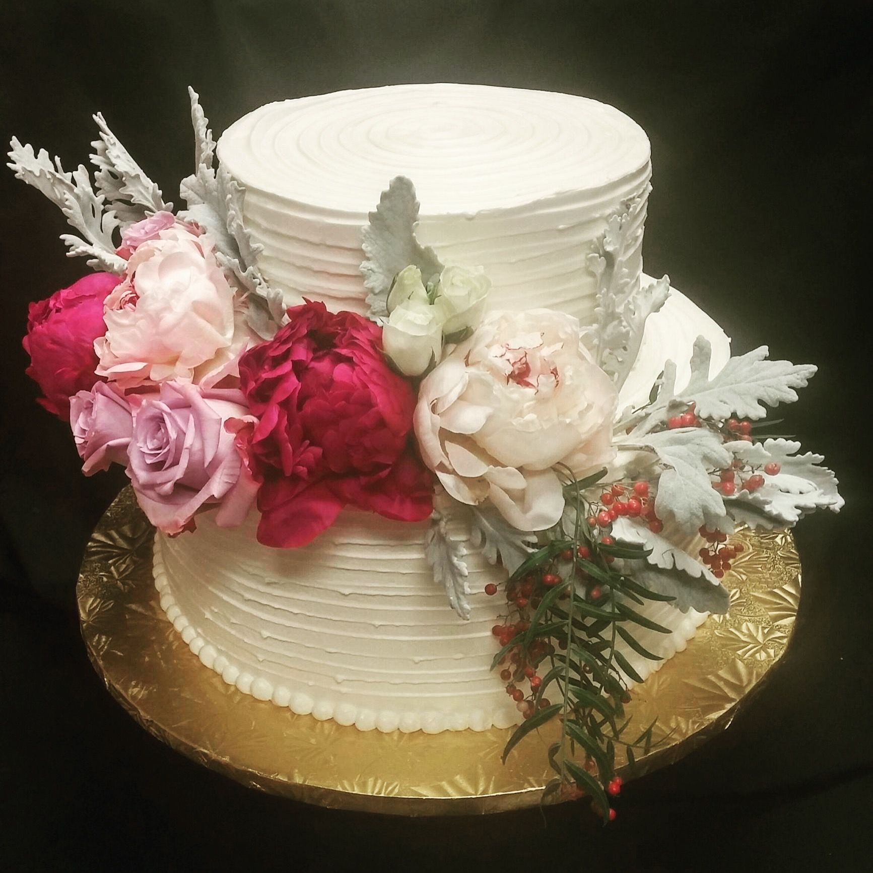 Cute 2 tier with fresh flowers fresh flower cake 2 tier